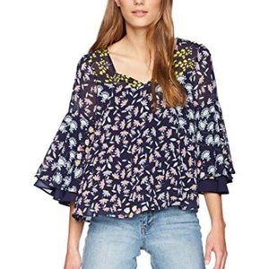 Nanette Lepore Bell Sleeve Floral Blouse NWOT XL